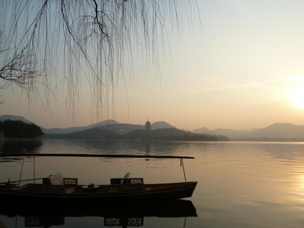 Hangzhou lago barca