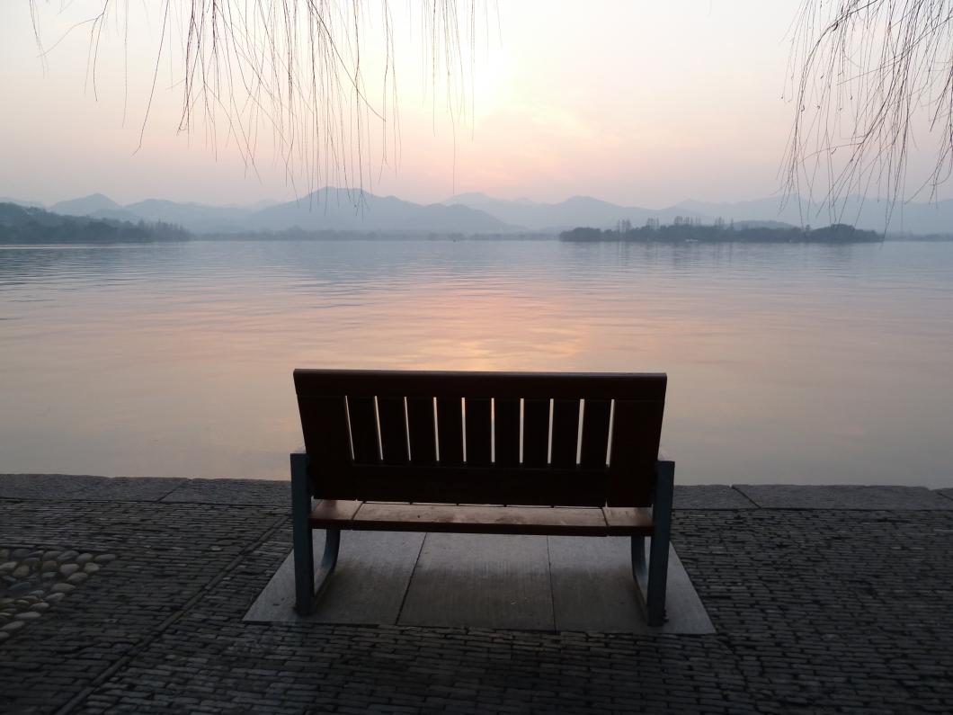 Hangzhou lago tramonto